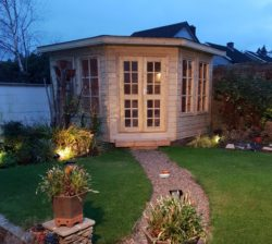 3.3m x 3.3m Corner Shed With Handmade Doors and Windows